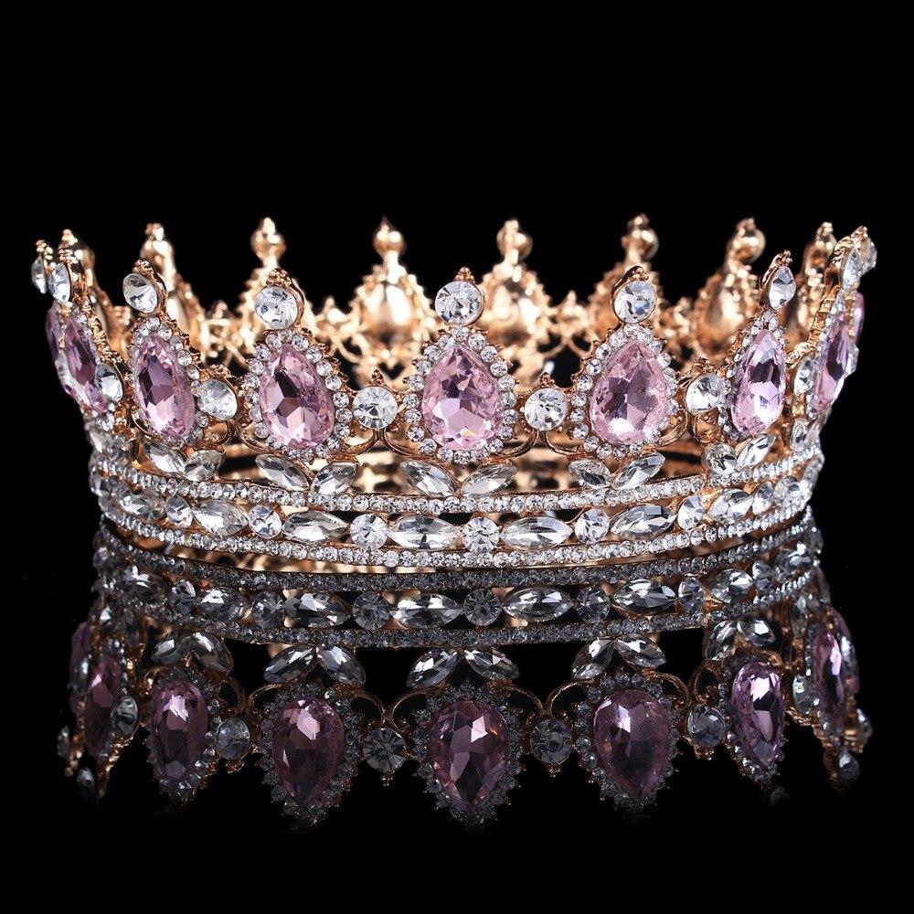 Hot sale New Fashion Elegant Pink Crystal Bridal crown classs