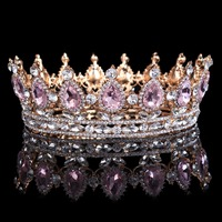 Hot Sale New Fashion Elegant Pink Crystal Bridal Crown Classic Gold Tiaras For Women Wedding Hair