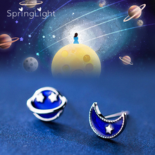 SpringLight Blue Planet Earring Real 925 Sterling Silver Fine Jewelry Cute Romantic Moon Star Stud Earrings for Women Lover Gift