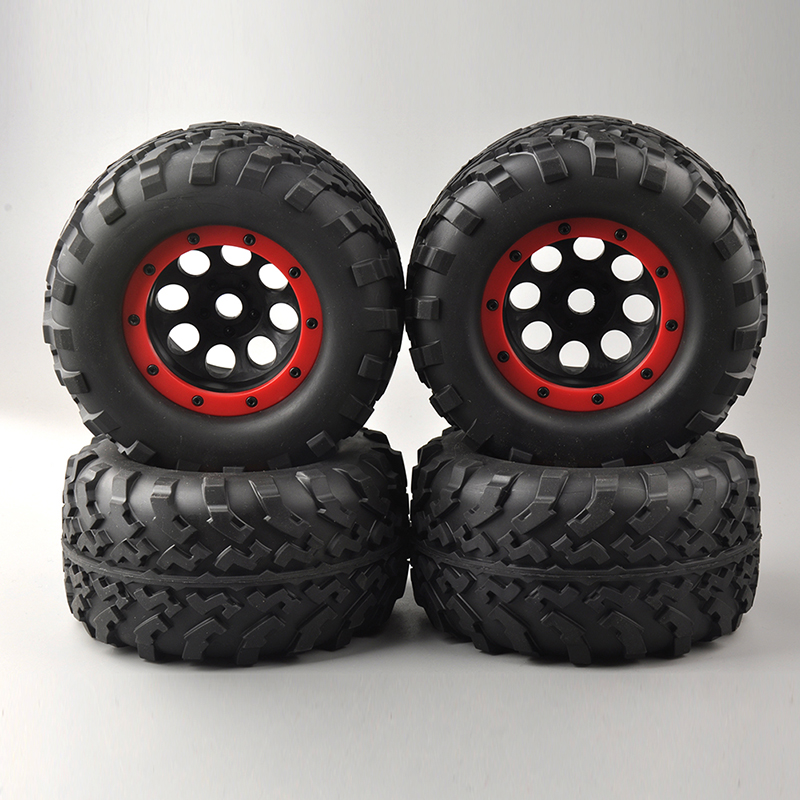 все цены на  4PCS Bigfoot Rubber Tires Tyre Red Wheel Rim For 1/8 Rc Truck Car Models Parts and Accessories 26406 Eight Holes  онлайн
