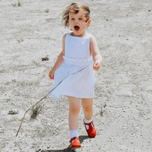 Ins Europrean летнее платье для девочек льняная одежда Todddler для маленьких девочек одежда принцессы
