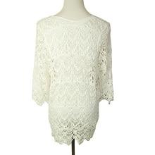 Elegant White Lace Blouse Tunic Shirt With 3/4 Sleeves