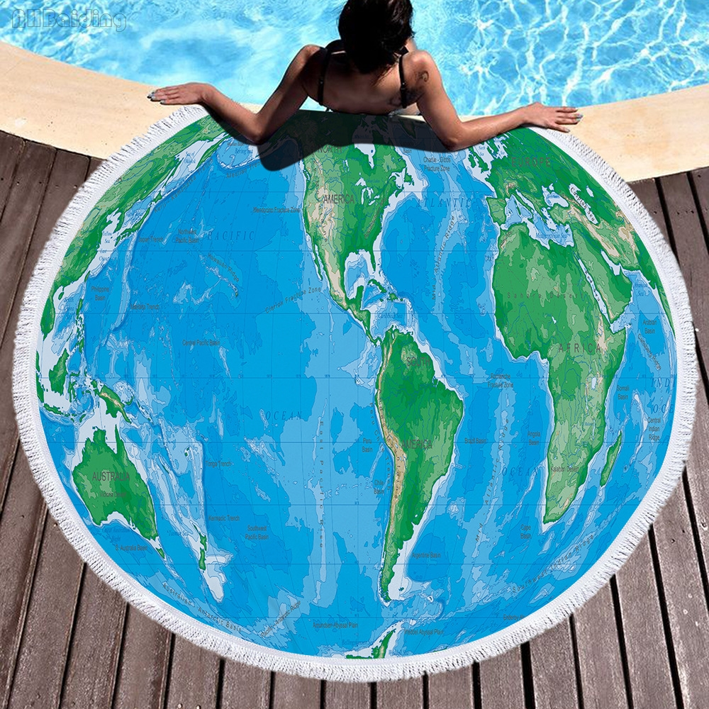 2018 Green World Map Large Round Beach Towel 150cm Size Adults Boys with Tassel Summer B ...