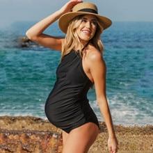 Плюс размер для беременных танкини женский сплошной бикини с оборками купальник пляжная одежда для беременных летний пляжный костюм