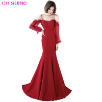 CX SHINE Mermaid Train Sleeve Lace Flower Long Evening Dresses Dark Blue Wine Red Bride Banquet