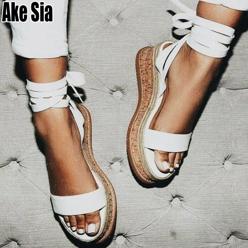 Summer Wedge Heels Women Sandals Open Toe Gladiator Sandals Mujer Lace Up Espadrilles Woman Platform Sandalias Casual Shoes A691Summer Wedge Heels Women Sandals Open Toe Gladiator Sandals Mujer Lace Up Espadrilles Woman Platform Sandalias Casual Shoes A691