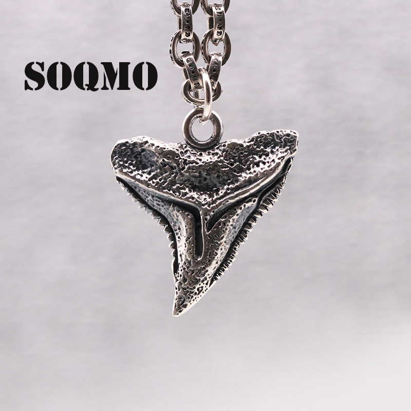SOQMO Thai Silver Petrochemical Shark Teeth S925 Sterling Silver Pendant European And Korean Tide Men And Women Necklace Pendant