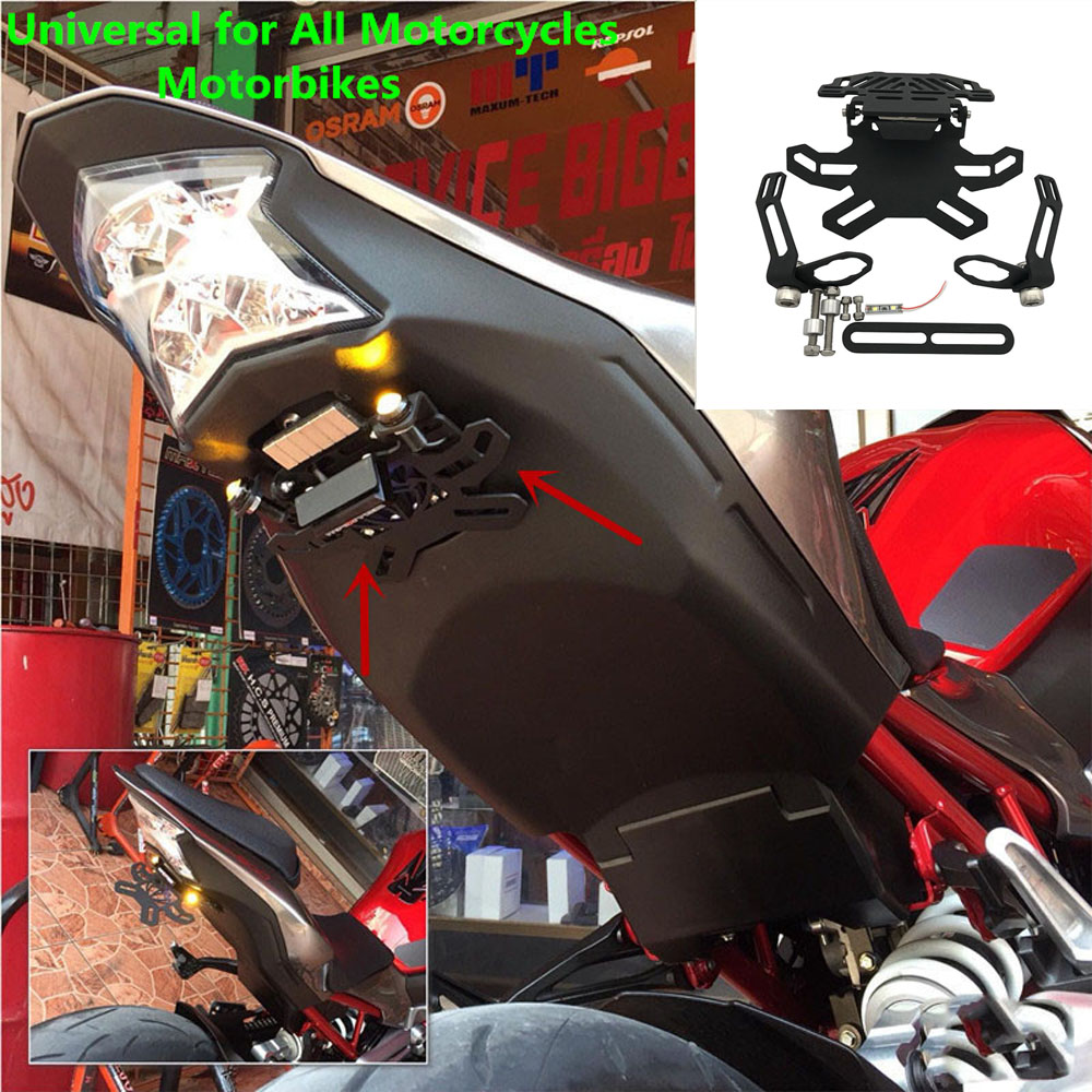<font><b>Motorcycle</b></font> Foldable Z900 License Plate Frame Holder LED Light Bracket Tail Tidy For <font><b>Kawasaki</b></font> z900 <font><b>Z</b></font> <font><b>900</b></font> 2017 2018 2019 image