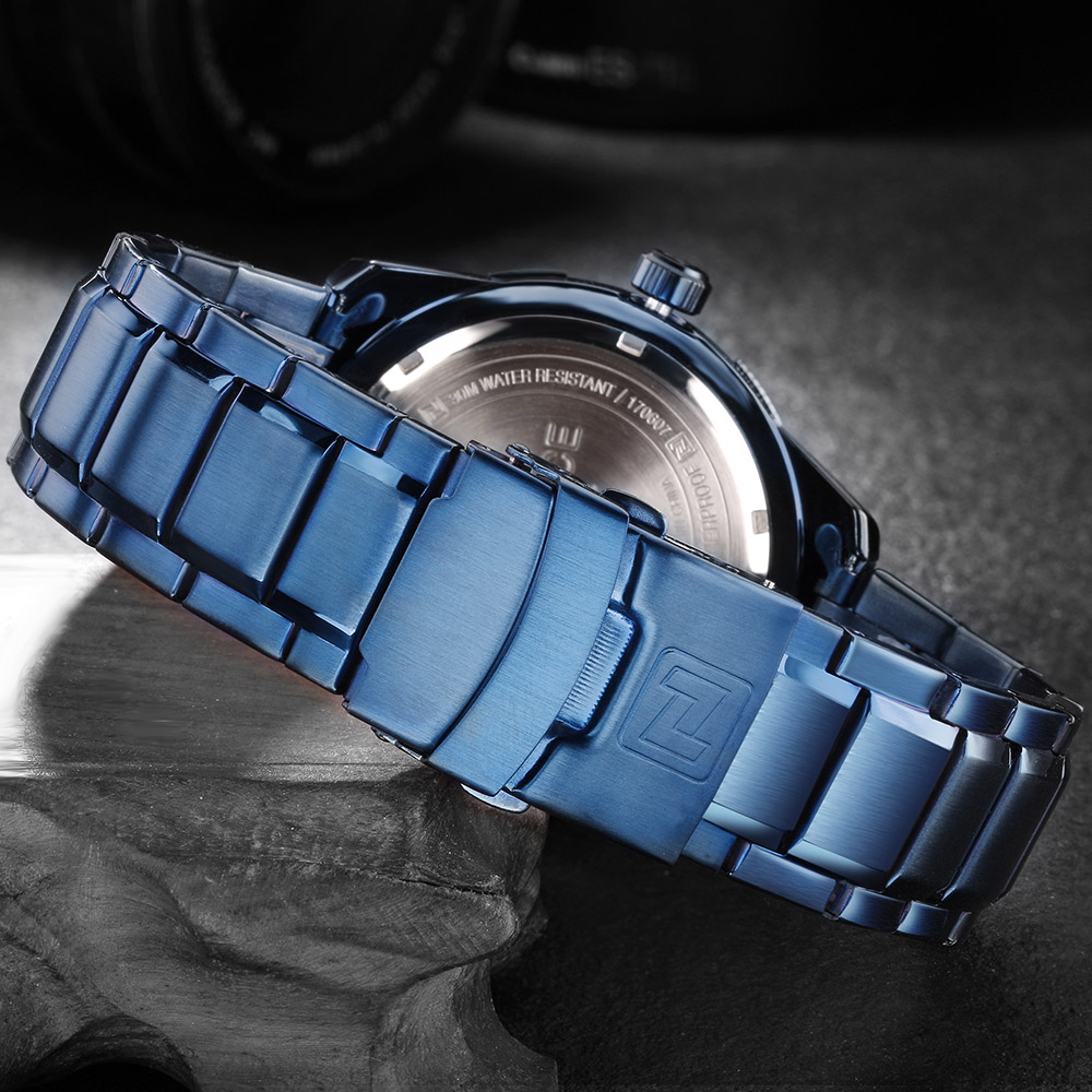 Naviforce Топ Роскошные мужские часы синие водонепроницаемые часы с датой недели кварцевые часы мужские спортивные наручные часы из полной стали мужские часы - 6