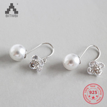 2019 Fashion 925 Sterling Silver Dangle Earrings White Zircon Flower Pearl Drop Earrings For Girls Women Wedding Party Jewelry 2019 fashion 925 sterling silver dangle earrings white zircon flower pearl drop earrings for girls women wedding party jewelry