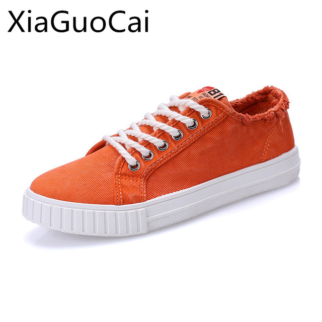 d16912bf423b Brand Orange Men Casual Shoes Rubber Breathable Spring Male Sneakers Cheap  Canvas Shoes Autumn Lace Up Flats Drop Shipping X1 35