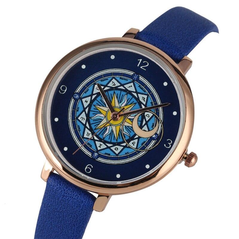 Stylish Quartz Watch Movement For Women Timekeeper Leather Strap Wristwatch Exquisite Card Captor Sakura Pattern Dial Watches