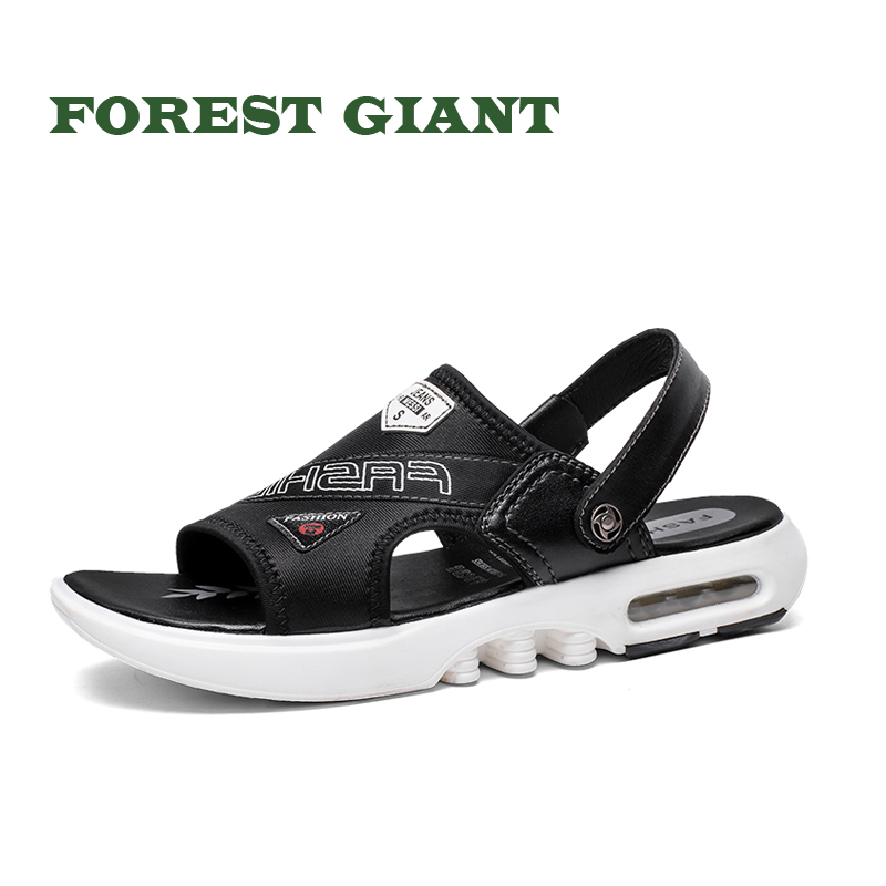 FOREST GIANT Summer Men Sandals Simple Black Casual Shoes Comfortable Beach Shoes Solid Tide Sandals Soft Buttom Sandals 8098