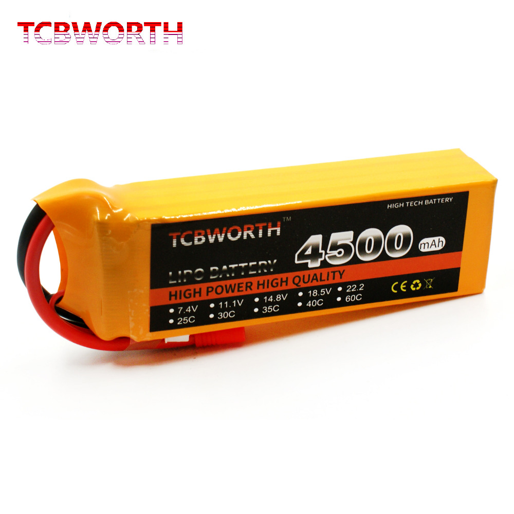 TCBWORTH RC Drone LiPo battery 14.8V 4500mAh 60C 4S For RC Airplane Quadrotor Helicopter AKKU Car Truck Li-ion battery tcbworth 14 8v 5000mah 30c 4s rc airplane lipo battery for rc quadrotor helicopter akku drone car truck li ion battery