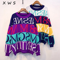 Autumn Winter Women Oneck Pullover and Sweaters Long Sleeve Letters Casual Streetwear Sweater Jumpers christmas sweater