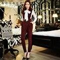 Dabuwawa брюки женские осень зима англия стиль новый корейский темперамент моды случайные талии карандаш комбинезоны женщин розовая кукла