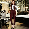 Dabuwawa calças femininas outono inverno inglaterra estilo new coreano temperamento moda casual lápis cintura macacões mulheres rosa boneca