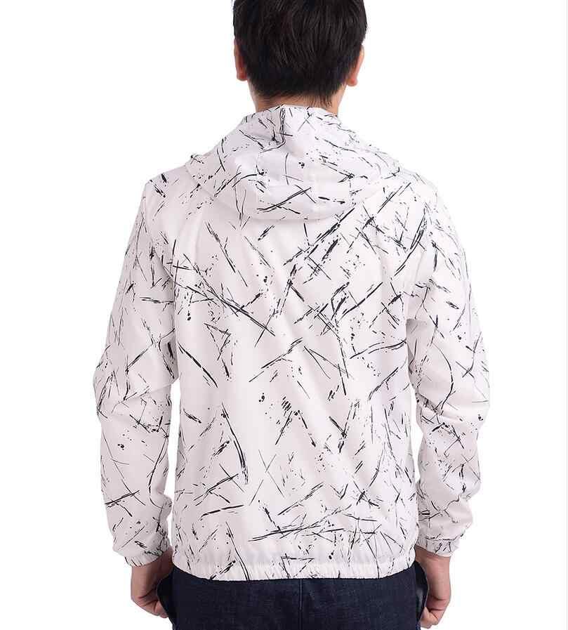 2018 Для Мужчин's сезон: весна–лето капюшон Куртки модный принт Водонепроницаемый ветровка Повседневное пальто Верхняя одежда Chaqueta