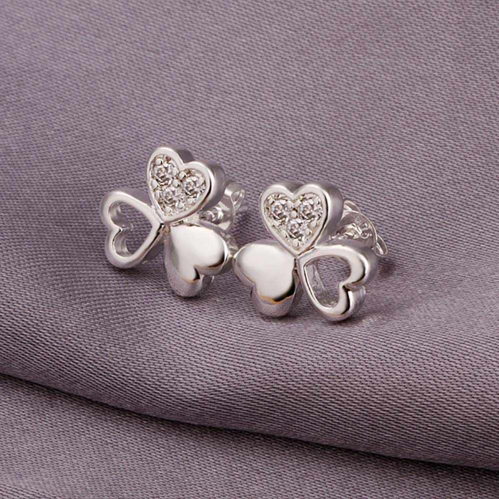 Wholesale Silver Plated Earring,Wedding Jewelry Accessories,Fashion CZ  Clover Heart Earrings For Women