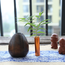 Modern Solid wood vase Mini drop shape/sphere flower vase Creative Handmade Crafts Round mouth Metal tube vases home Decoration