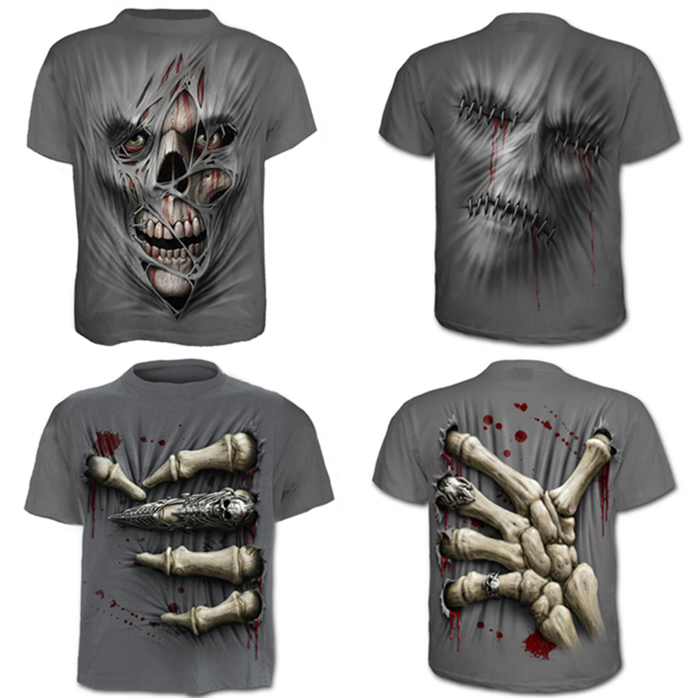Overlord Skull Costume 2019 Summer men's short-sleeved 3D digital printed T-shirt Halloween hip-hop funny party Skull T shirts