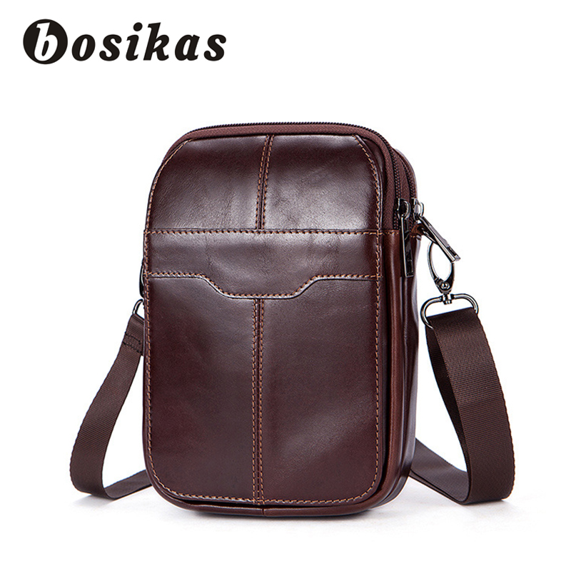 BOSIKAS Genuine Leather Waist Bag Phone Case Cover Men Bum Bags Travel Money Belt Bag Leather Waist Pack Fanny Pack Waist Pouch funny facebook pop dad bod money belt soft adjust bag men flesh color creative fanny pack beer fat belly bum pouch waist bag