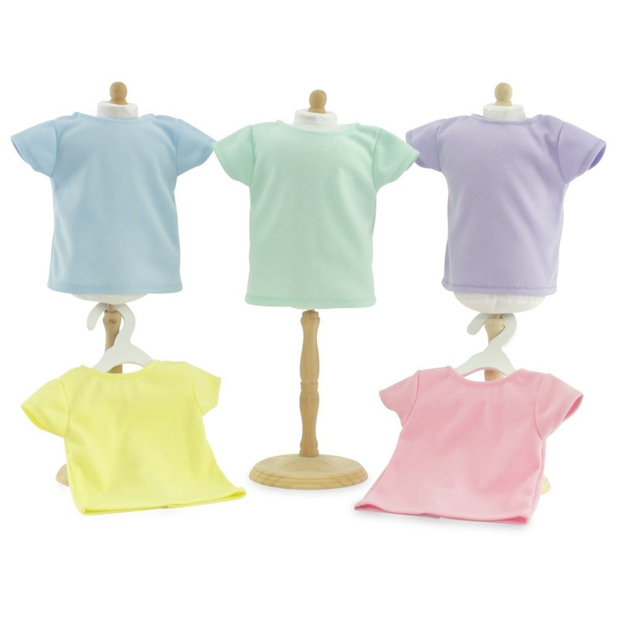 Short Sleeve T-Shirt Solid Colors Set of 9 - Hot Pink, White, Yellow, Light Green, Turquoise, Red, Orange, Lavender, Coral