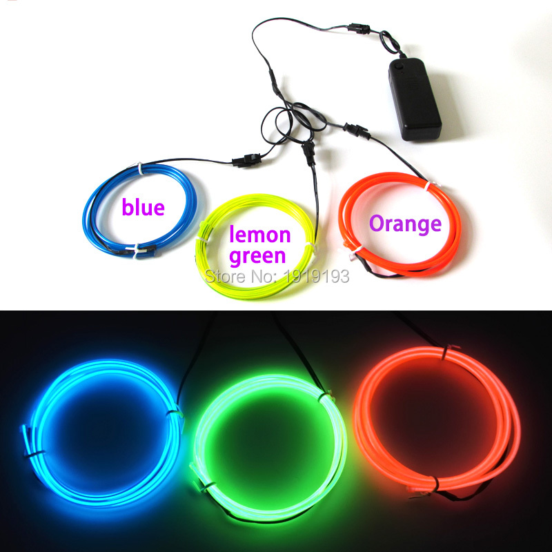 1Meter x 3PCS three Color 3.2mm Flexible EL Wire Led Strip Neon thread Light with DC-3V inverter For Toys/Craft House Decoration