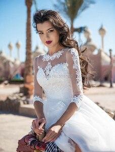 Image 3 - 2021 A Line Wedding Dresses Lace Appliques Three Quarter Button Illusion Bridal Gown for Bride Marriage Longo Vestido De Novias