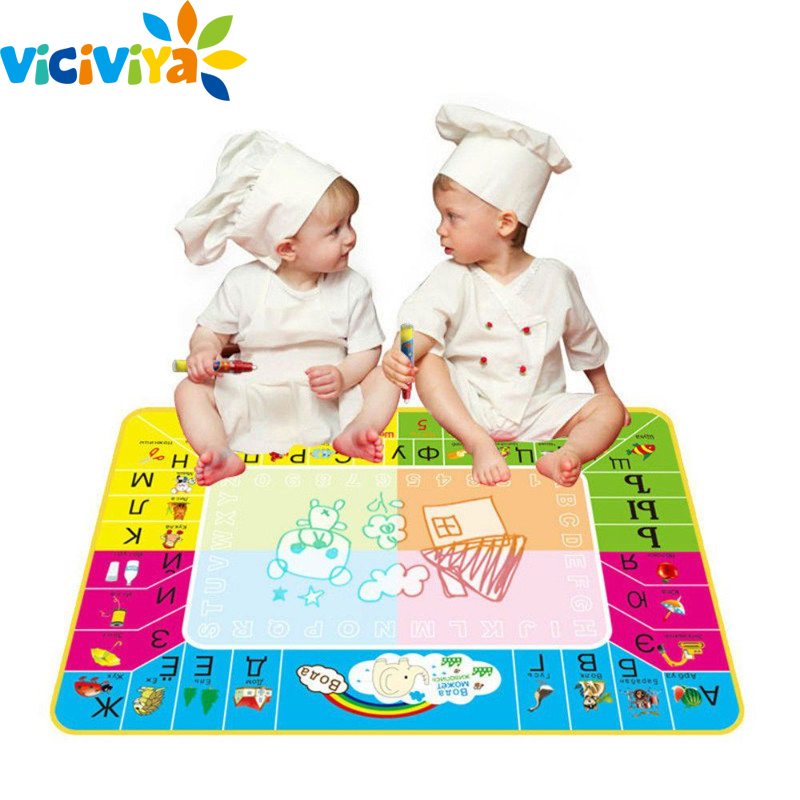 73x49cm Russian Language 3D Magic Water Drawing Mat Children Kids Writing Painting Rug Doodle Drawing Board Learn Education Mats kid water drawing mat doodle board