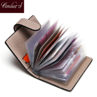 New Fashion Women Credit Card Holder Genuine Leather Brand Design Cards Cover Case High Capacity Organizer