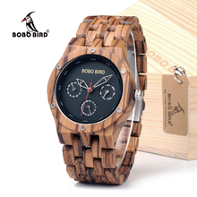BOBO BIRD WN11 Wooden Mens Watches Week Date Hours Pointer Casual Zebra Wood Band Quartz Watch