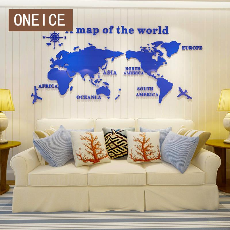 3d Acrylic World Figure Crystal Stereo Wall Sticker Earth Office Inspirational Sofa Background Large Area Entrance Clock