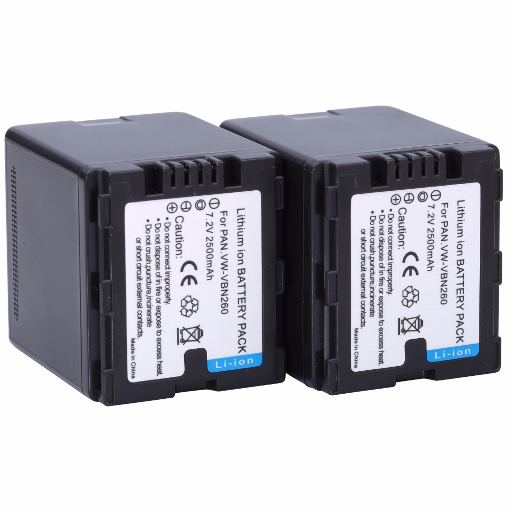 Probty 2 unids VW-VBN260 VBN260 2500 mAh batería para Panasonic HDC-TM900 HDC HS900 SD800 SD900 TM800 TM900 HS900