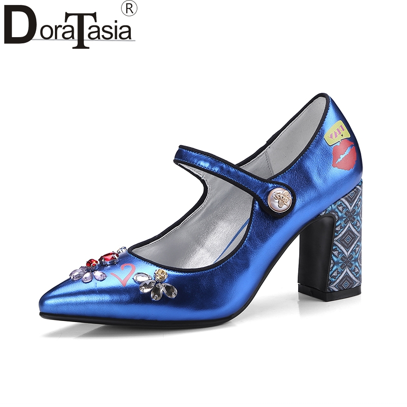 DoraTasia new plus size 34-43 pointed toe ankle strap mary janes woman shoes women high heels party wedding pumps woman new fashion thick heels woman shoes pointed toe shallow mouth ankle strap thick heels pumps velvet mary janes shoes