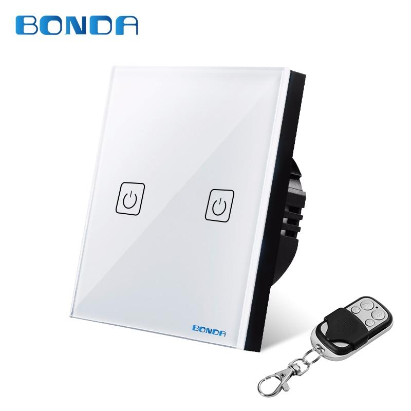 все цены на BONDA genuine EU/UK standard two open wireless remote control switch luxury crystal glass panel touch screen wall light switch онлайн
