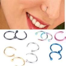 2Pcs Medical Titanium Punk Clip On Fake Piercing Body Nose Lip Rings Unisex Ring Women Septum