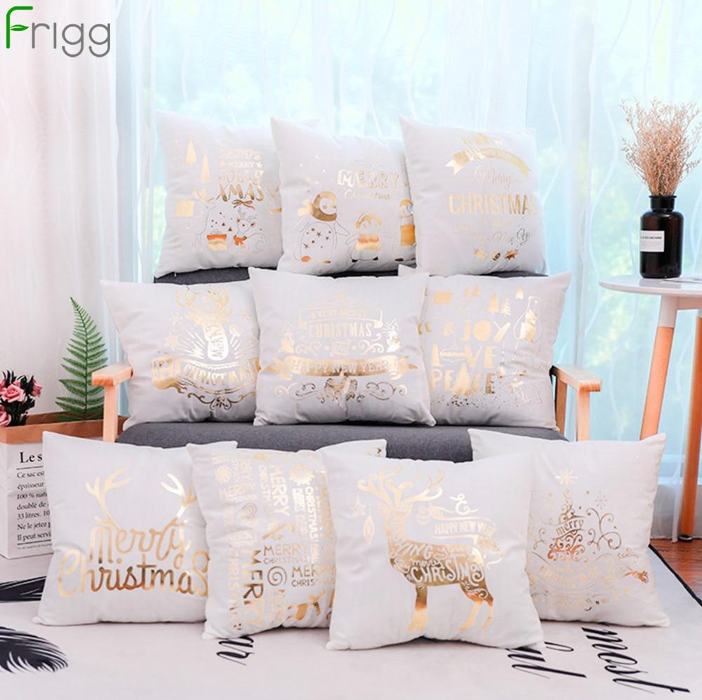 Frigg Gold Bronzing Christmas Cushion Cover Cotton Linen Sofa Home Decorative Case Happy New Year Santa Xmas Pillow