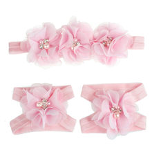2017 hadiah PESTA gadis hairband aksesoris HOT Colorful Barefoot Sandal Foot Bunga Headband Set untuk Bayi H30 ov9(China)