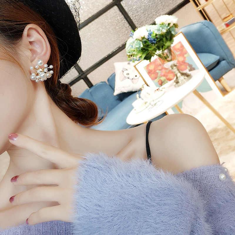 Neue Mode Frauen Vintage Simulierte Perle Perlen Stude Ohrringe Elegante Blume Feuerwerk Form Pendientes Mädchen Ohr Schmuck Geschenke