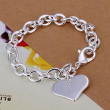 Fina del verano del estilo de plata chapada pulsera 925-sterling-silver joyería bijouterie heart chain pulseras para mujeres hombres SB278