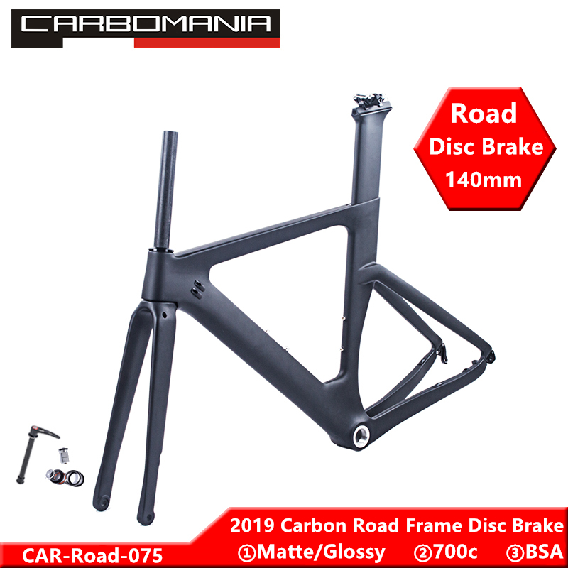 Newly Carbon Road Frame Disc Brake 2019 DI2 Mechanical Carbon Fibre Road Cycling Race Bicycle Frameset Thru Axle 12mm 49/51/54cm
