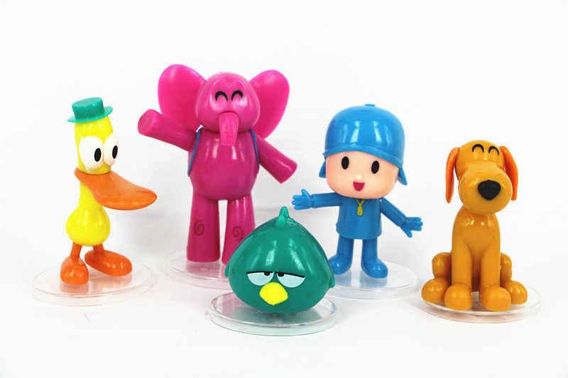 Lote pcs Pocoyo ELLY pato Loula 5 Pássaro Sonolento PVC Brinquedos Figuras de Ação Boneca de Brinquedo Caçoa o Presente de Natal Bonito