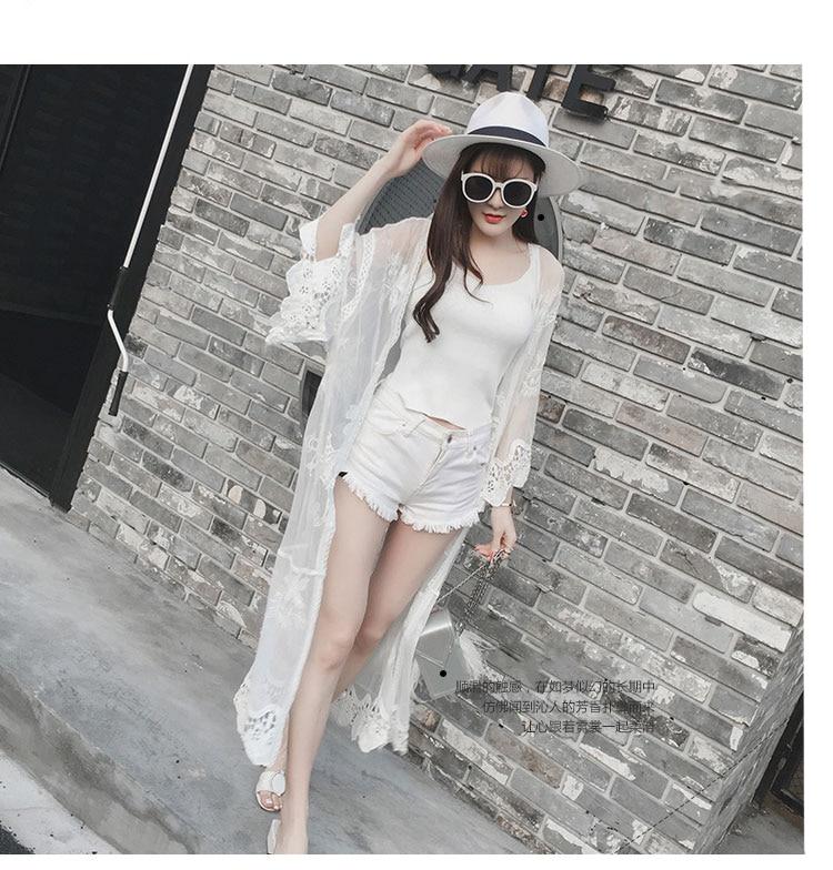 Moda Coreano Feminina Camisa Solar Primavera Blusas Verano Encaje Tops Protección 2018 1 Cardigan Y Blusa Blanco Mujeres UBOZq66