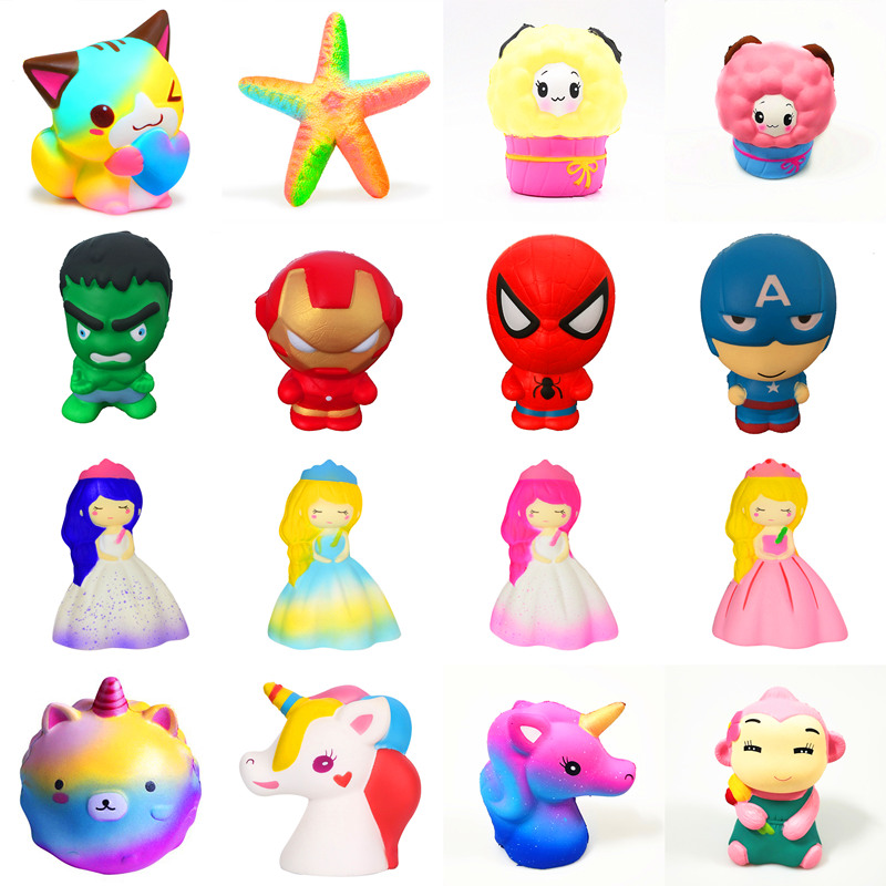 Squishy toy Slow Rising squeeze toy Love cats princess bear superman spider-man horse stars deer Glasses bear Ice cream scary lifelike spider toy with squeeze to sound effects