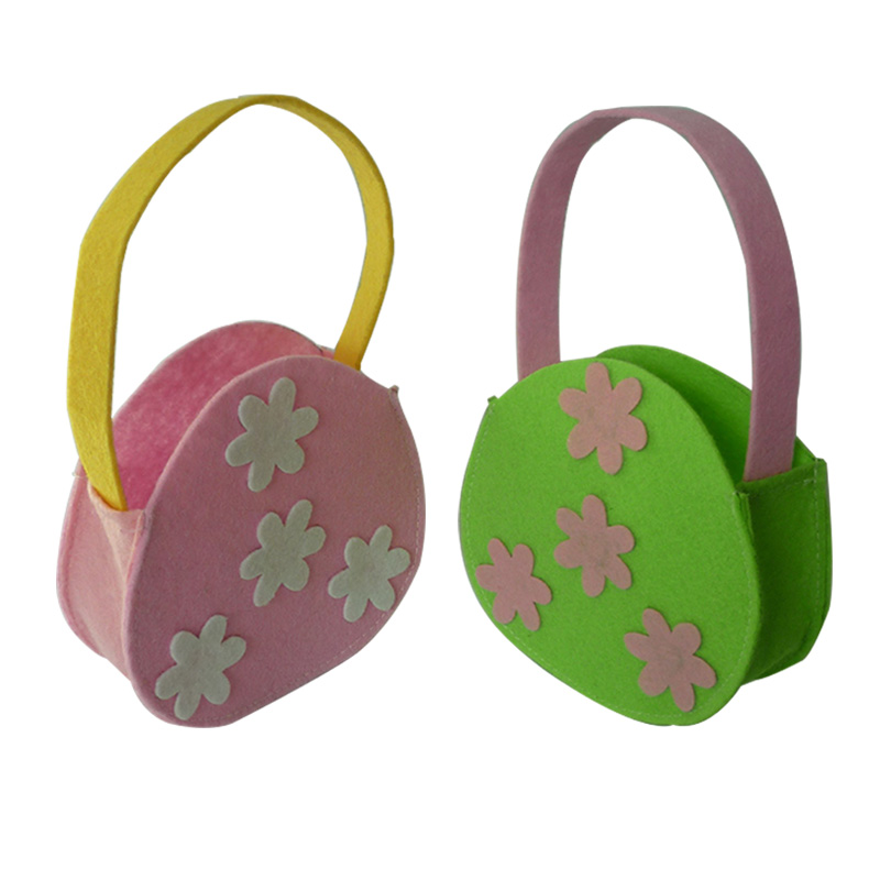 2Pcs Easter Gift Bags Pink Green Flower Bag Easter Decor Kids Candy Cookie Bags Handbag Birthday Party Supplies Easter Decor
