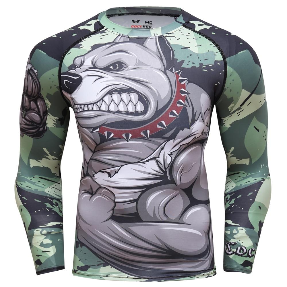2018 Mens Fitness Compression O Neck Long sleeves T Shirt Animal 3D Prints MMA Rashguard Tights