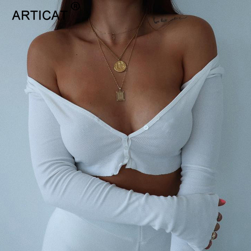 Articat White Off Shoulder Short   Tank     Tops   Women Shirt Sexy Ribbed Knitted Buttons Crop   Top   Ladies Streetwear Basic Tees Camis