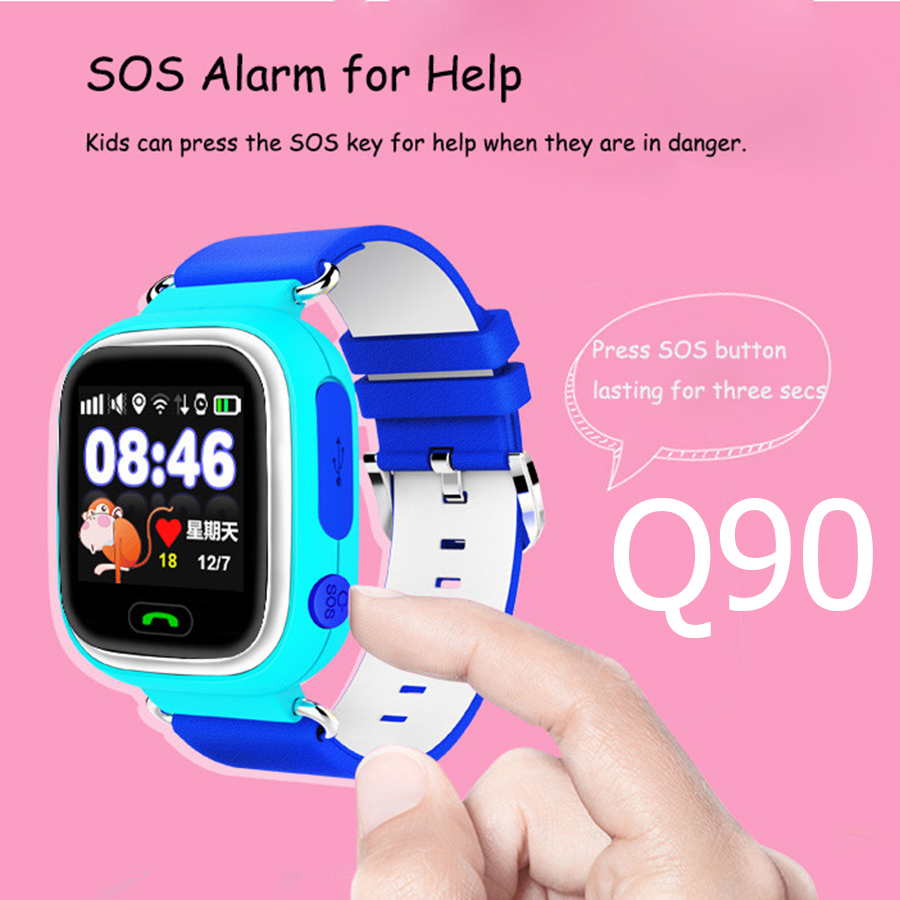 Lemado multicolor q90 pantalla táctil gps smart watch reloj sos ubicación rastre