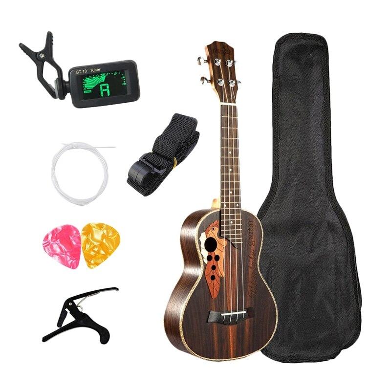 Kits ukulélé de Concert 23 pouces ukulélé en palissandre 4 cordes Mini Hawaii guitare avec sac accordeur Capo sangle pique pics pour débutant